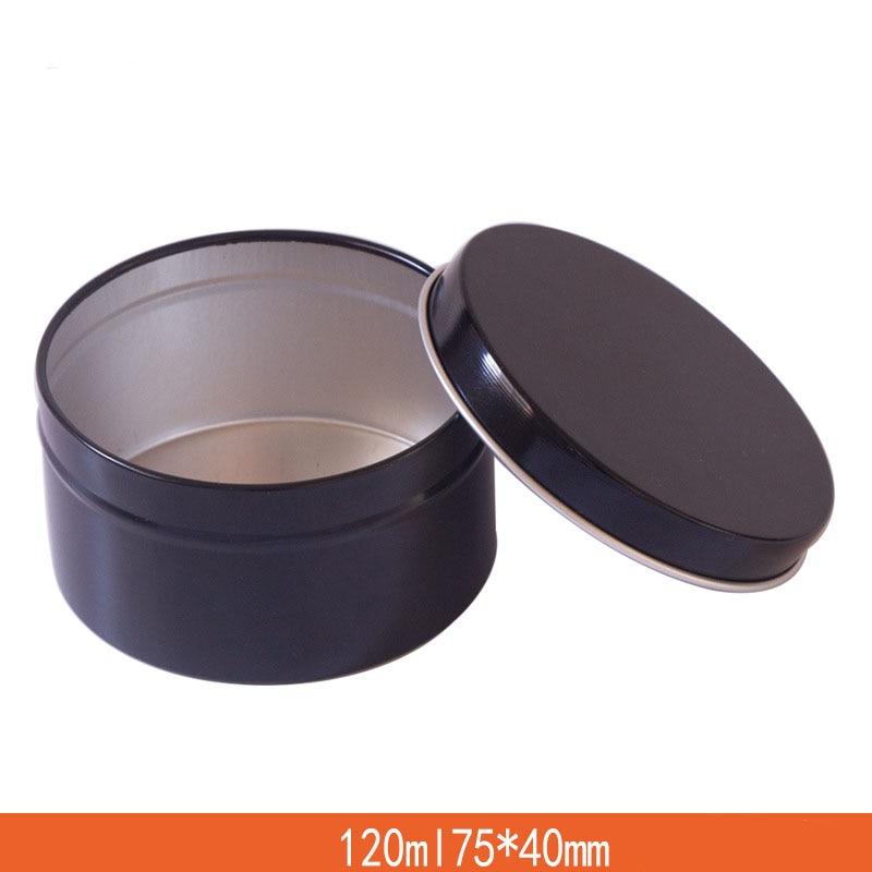 120ML Aluminum Cosmetic Jar Empty Round Black Cream Pot Candy Box Dia 75mm Little Aroma Candle