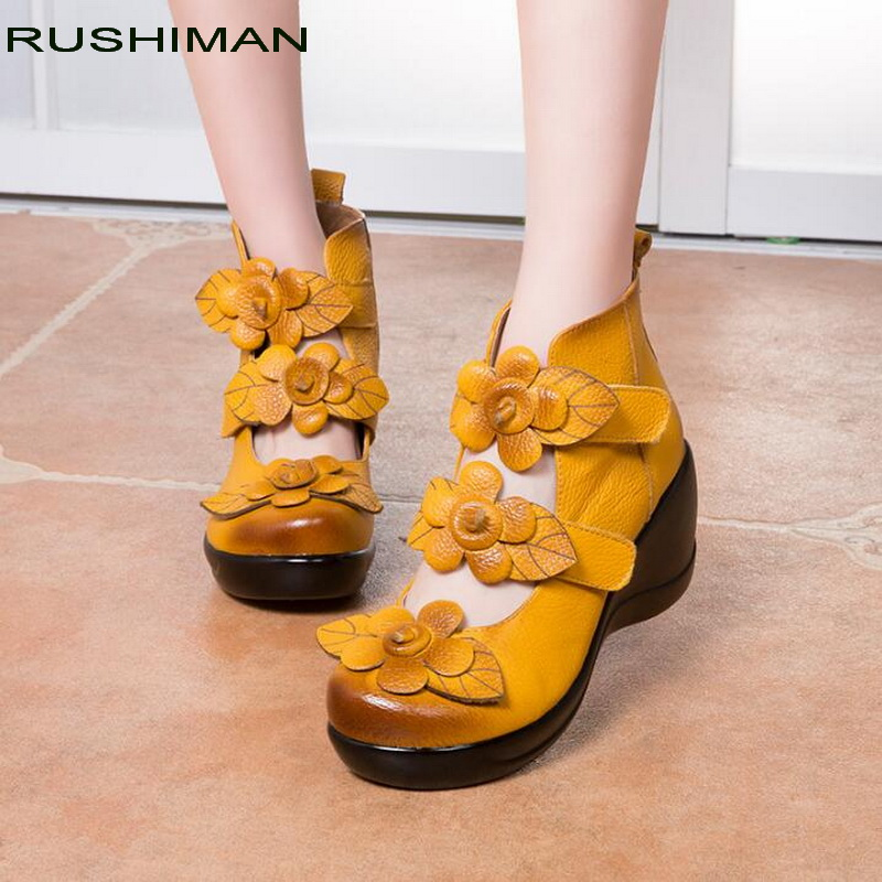 RUSHIMAN Handmade Women High Heel Shoes wedges Cowhide Genuine Leather Shoes Woman Fashion Shoes