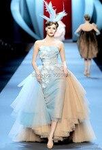 Vestido de festa A Line Schatz Sleeveless Champagner Tüll Appliques Marke Haute Couture Runway Arabisch Langes Abendkleid
