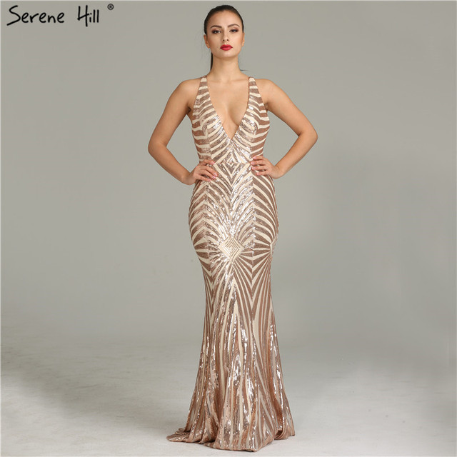 Arabic Long Gold Gliter Mermaid Formal Evening Prom Party Gown Dress ...