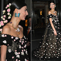 2014 Giovanna Battaglia Met Gala Maternity Celebrity Dress Off shoulder Empire Black Hair Roses Red Carpet Evening Dress