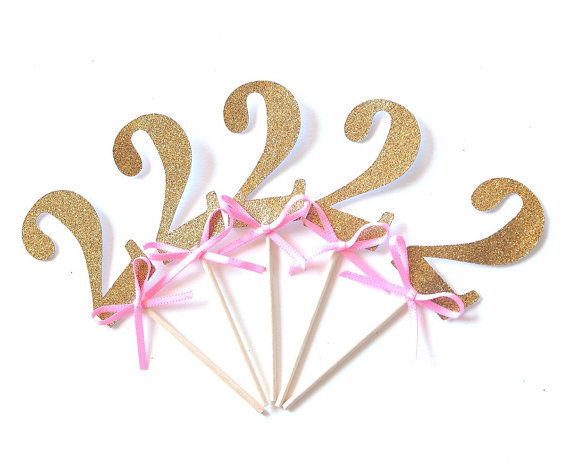 2nd Birthday Cupcake Toppers Glitter Gold With Pink Bow Custom Number Wedding Toothpicks Bridal Baby
