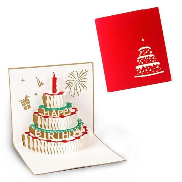 Feliz Aniversário Cartões 3D Artesanal Origami Pop Up Cartão Bolo de