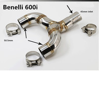Motorcycle for Benelli 600 Muffler Exhaust Mid Link Pipe 51mm Motorbike Exhaust Middle Pipe Escape