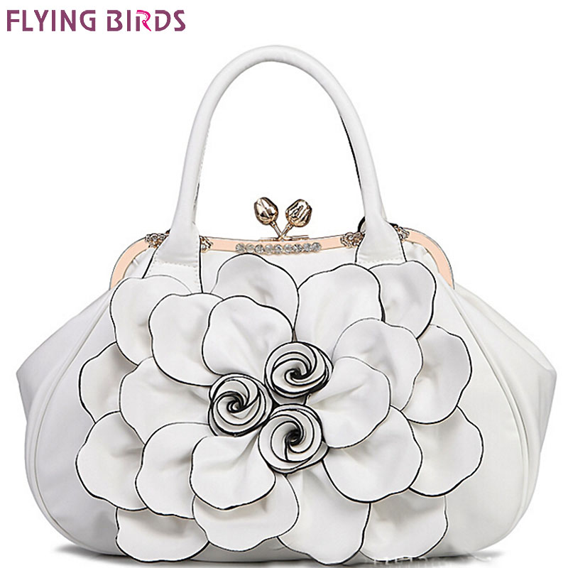Flying birds designer women handbag 3D flower high quality leather tote bag female large shoulder bag messenger bags LM3515fb