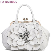 Flying birds designer women handbag 3D flower high quality leather tote bag female large shoulder bag