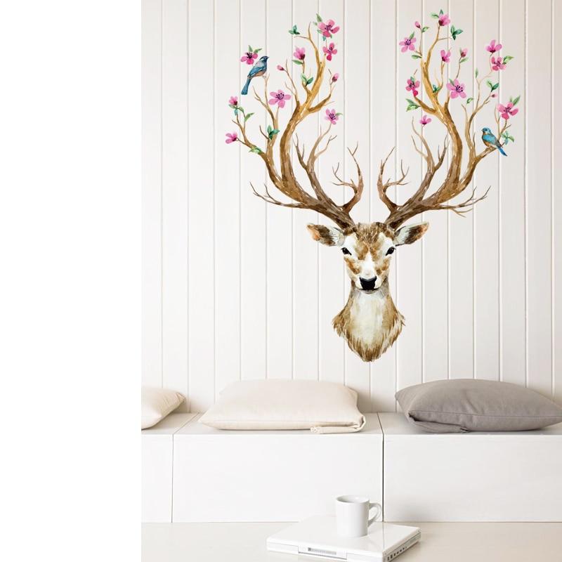 Flower Bird Reindeer Murals Deer Head Wall Decals