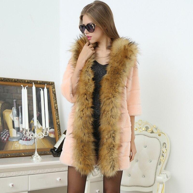 Nerazzurri Frauen Faux Pelzmantel Mit Waschbären Hund Pelzkragen - Damenbekleidung - Foto 4
