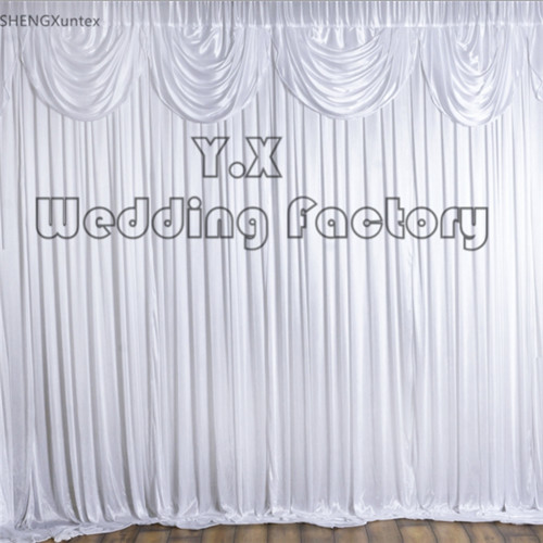 10ft*10ft pure White Color Backdrop Curtain With Top Swag Drape For Party Event Decoration 10ft*10ft pure White Color Backdrop Curtain With Top Swag Drape For Party Event Decoration