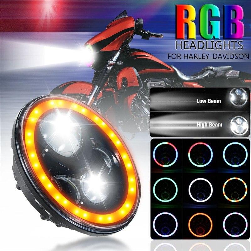 12V RGB Headlight 7 Inch Flowing Halo Angel Eye Automatic Cyclic Hi/Low 60W/45W Headlamp For Harley-Davidson