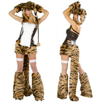 2016 New Women Sexy Adult Leopard Tiger Halloween Costume High Quality Loaded Temptation Set Sexy Plush