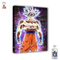 Remote Control Led Canvas Wall Decorative Dragon Ball Super Goku Picture Canvas Print Illuminate painting poster home decor gift