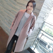 Woman Pink Cashmere Palto Chinese Down Coat Winter Autumn Long Warm Wool Jackets Manteau Femme Button Korean Cloak Woolen Coat