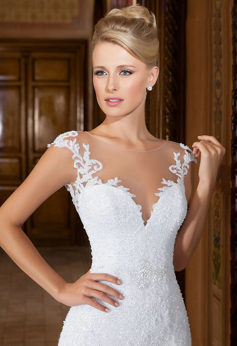 Cap Sleeve Wedding Dress Mermaid Lace White Wedding Gowns With ...