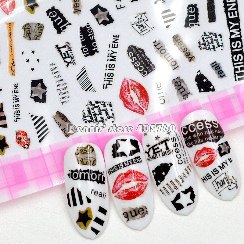 1 Sheet High Quality Sexy Red Lip Print Unique 26 Alphabet Letters Pattern Adhesive Nail Art Stickers Decals F421-438#