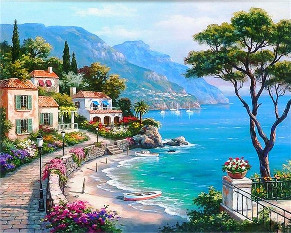 Beibehang papel de parede 3d mediterrâneo seaside jardim paisagem pintura a óleo fundo da decoração interior 3d