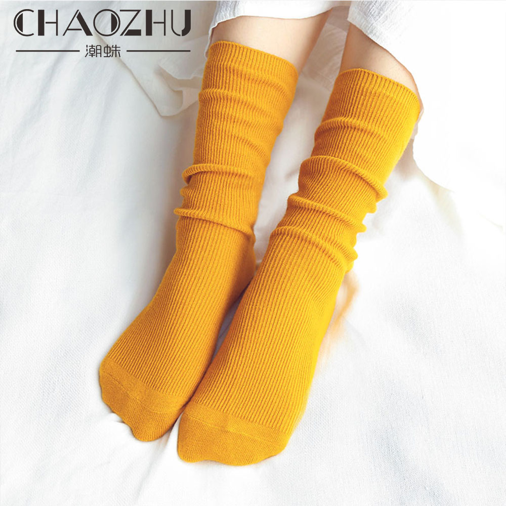 CHAOZHU Japanese High School Girls High Socks Loose Solid Colors Double Needles Knitting Cotton Long Socks Women