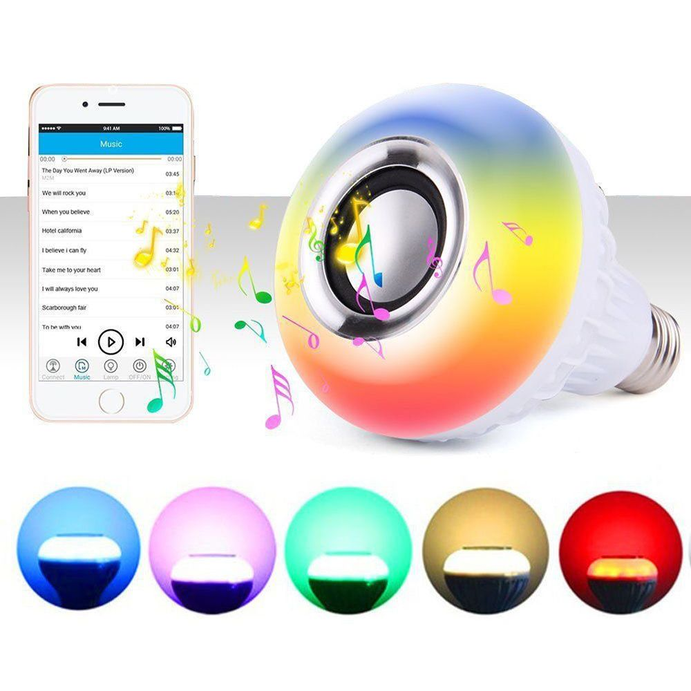 Multi Colors Wireless Bluetooth Speaker Bulb Light 12W LED RGB Smart Music Play Lamp Remote