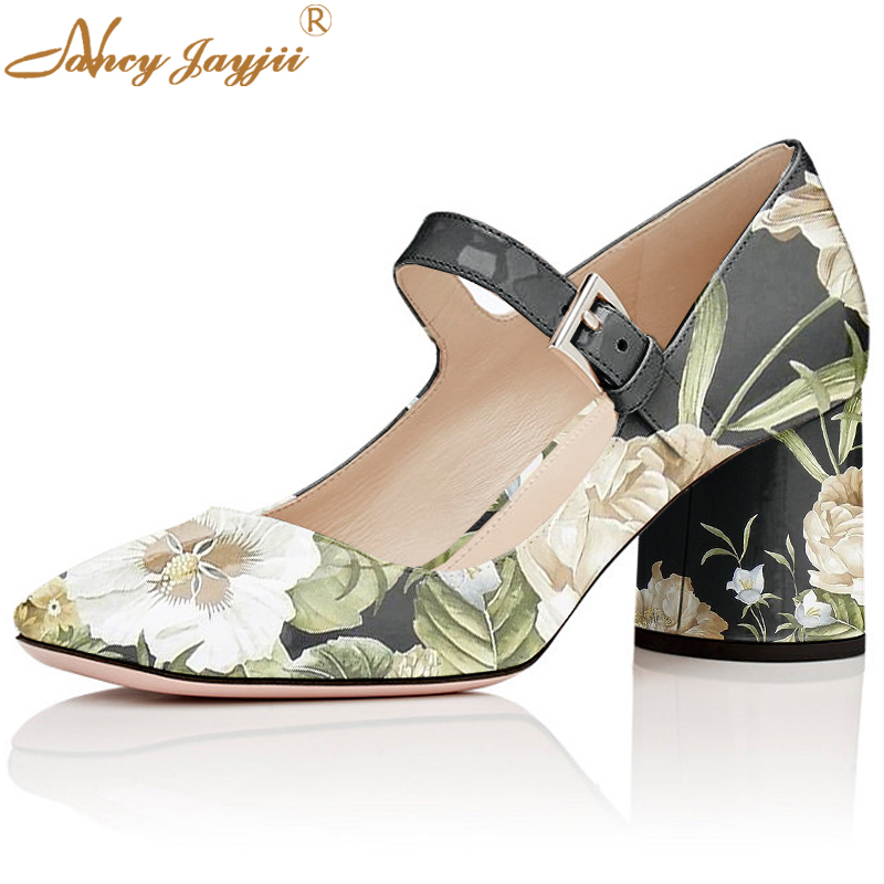 Elegant Mary Jane Summer Womens Flower Print Pumps Ladies High Square Heels 60mm Wedding Leather Shoes Size 33 Nancyjayjii mary sterling jane algebra ii essentials for dummies