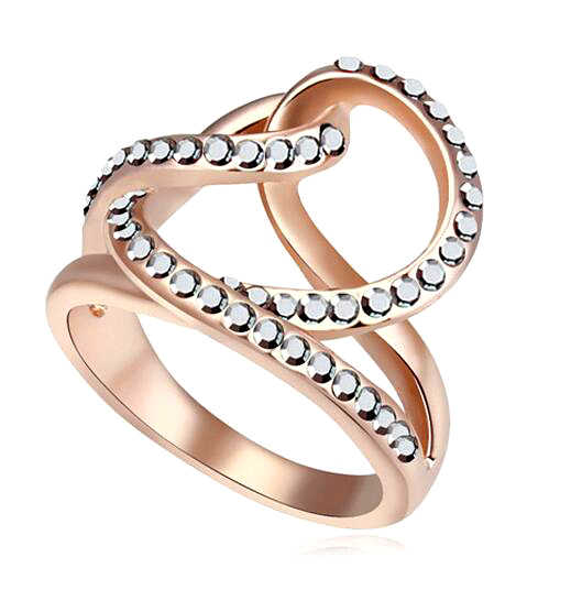 Fashion Jewelry Finger Ring Crystals From Swarovski Rose Gold Color Luxury Shine Rings For Women 2017