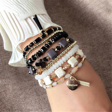 ZOSHI – Bracelets en pierre naturelle pour femmes, style bohème, Vintage, enroulé, 4 brins multicouches, tissé à la main, breloque en forme de cœur