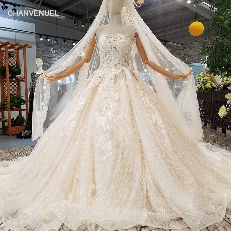 LS963624 Champagne Strapless Wedding Dresses Sleeveless