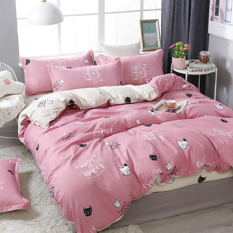 3/4pcs/Set Cartoon Pink Kids Bedding Set Student Dormitory Bed Linen With Pillowcases Cotton Duvet Cover Set Home Textile