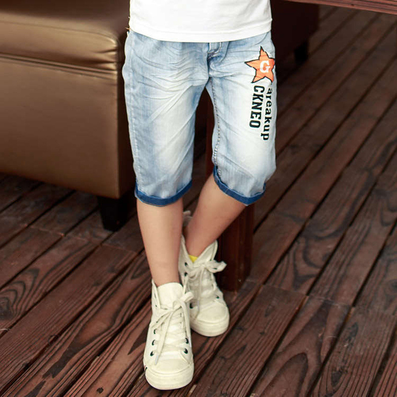 2020 hot summer design light blue star print kid short pants boys shorts elegant jeans denim shorts for teen children 3-13 years 2