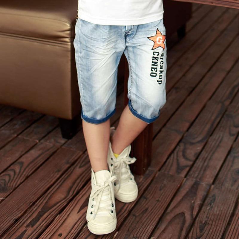 2020 hot summer design light blue star print kid short pants boys shorts elegant jeans denim shorts for teen children 3-13 years 2