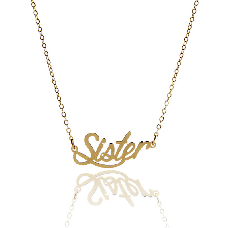 AOLOSHOW Gold Color Carrie Font Relationship Name Necklace Women Gift  Sister  Statement Nameplate Necklace Customized NL-2423