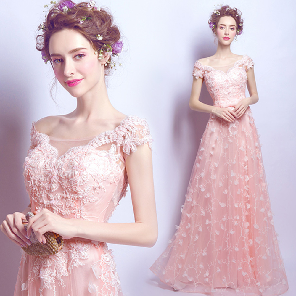 Beautiful Princess Wedding Gowns: Sweet Gowns Formal Fairy Pink Petal Lace Beautiful Pearls