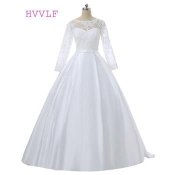 Muslim Vestido De Noiva Wedding Dresses Ball Gown Scoop Long Sleeves Lace Boho Cheap Wedding Gown Bridal Dresses