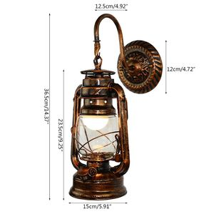 Image 4 - Vintage LED Wall Lamp Retro Kerosene Wall Light Barn Lantern European Rustic Antique Style