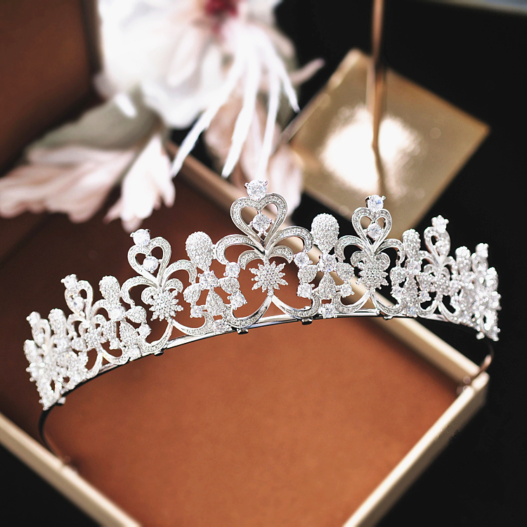 Full Zircon Tiara Headband CZ Crown Jewelry Bride Headpiece Wedding Hair Accessories Headbands Bijoux Cheveux WIGO1264 15pcs lot stretch elastic tutu headbands diy headband hair accessories 1 5 inch crochet headband free shipping 33colors in stock