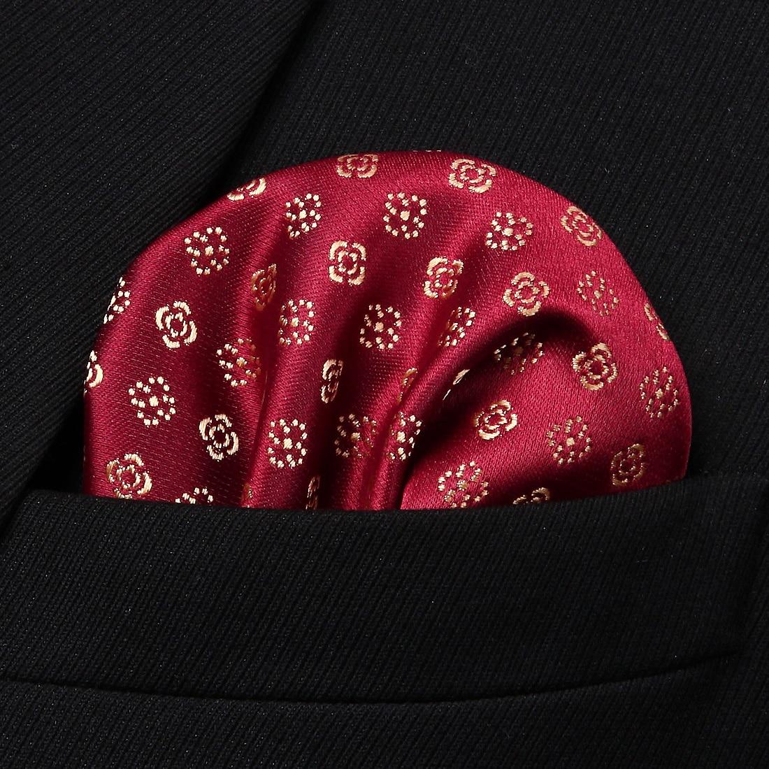HF602R Red Gold Floral Dot Men Silk Party Handkerchief Pocket Square Hanky