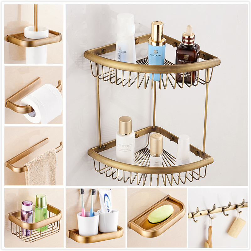 Free Shipping Antique Bathroom Accessories Toilet Paper Holder Towel Bar Shelf Brush Holders Wall Mount Bath Hardware Set meifuju vintage toilet paper holder with shelf wall mount bathroom accessories bronze paper holders antique brass roll holder