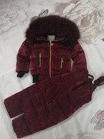 80 см 140 см 2018 зимняя куртка детские пуховики и брюки с мехом на капюшоне на утином пуху детский зимний костюм для девочек костюм для мальчико