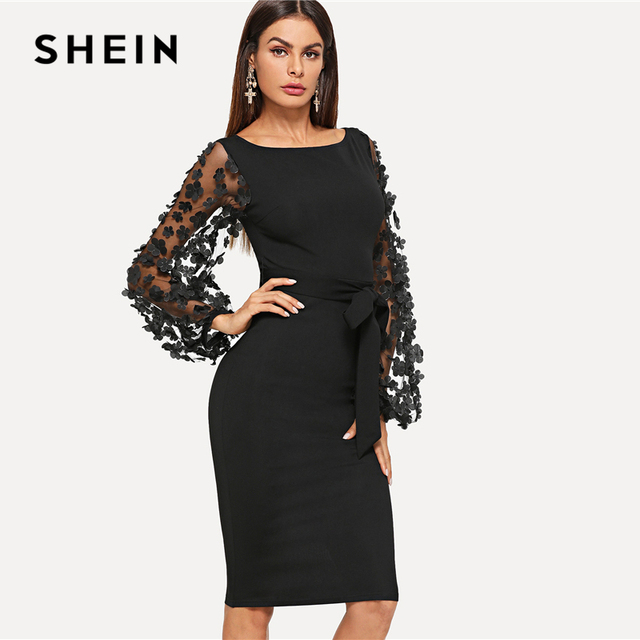Elegant Flower Applique Contrast Mesh Sleeve Form Fitting Dress