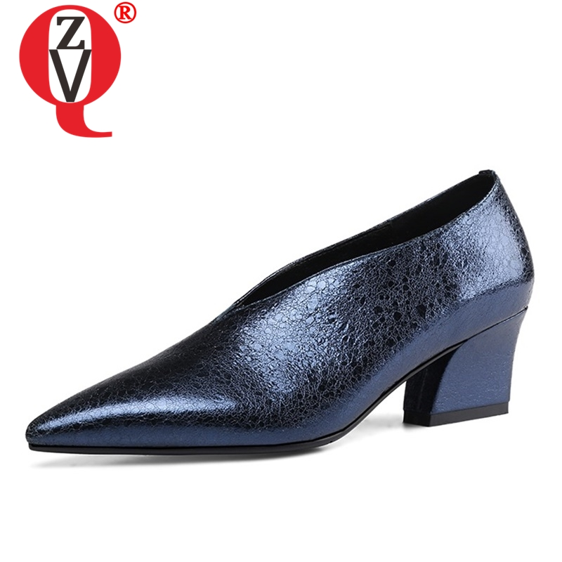 ZVQ Shoes Women Party Pointed-Toe Slip-On Genuine-Leather High-Quality New-Fashion Spring