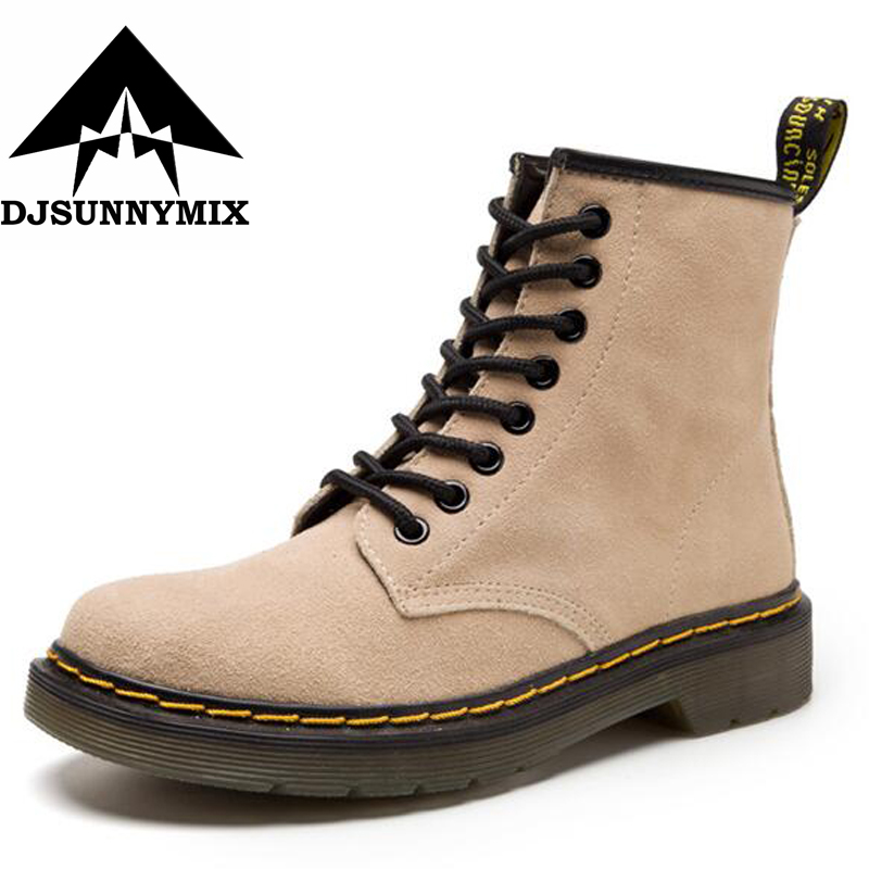 DJSUNNYMIX Autumn Winter Genuine Leather Cow Suede Ankle Boots High Quality Fashion Women's shoes New unisex martin Boots 35-46 new arrival high genuine leather comfortable casual shoes men cow suede loafers shoes soft breathable autumn and winter warm fur