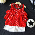Kids Summer Clothes Girls Chiffion Clothes Set Red Dot Sleeveless Shirt +White Short Pants For Children Clothing 2017 New Style