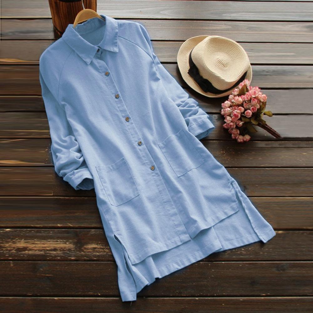 Feitong blouse women Long Sleeve Loose Casual Pocket Button Long Tops Shirt Blouse Plus Size 3XL 4XL 5XL