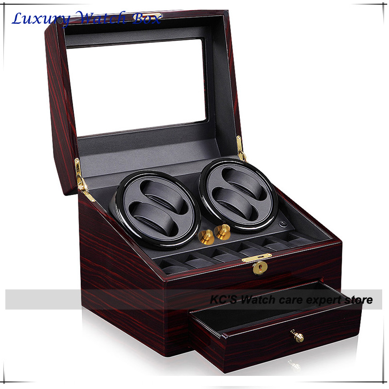 Quality Red Leather & Wood Watch Winder for RLX 4 + 6 Storage Display Case Box With A Drawer GC03-D66EB-F cream wilkinson lic st strat vintage voice single coil pickups fits for stratocaster