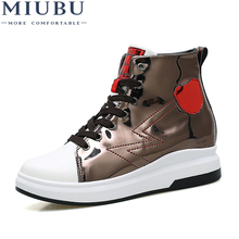 MIUBU 2019 Spring Platform White Shoes Women Sneakers High Quality Leather Lace up Flats Shoes Woman Thick Heel Creepers Shoes hanbaidi real leather 50 80mm platform oxford women shoes lace up flats top high quality leather casual shoes sneaker women 40