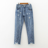 2017 Autumn New Women Fashion Colorful Nail Beads Washed Women Jeans Pencil Pants Casual Denim Jeans