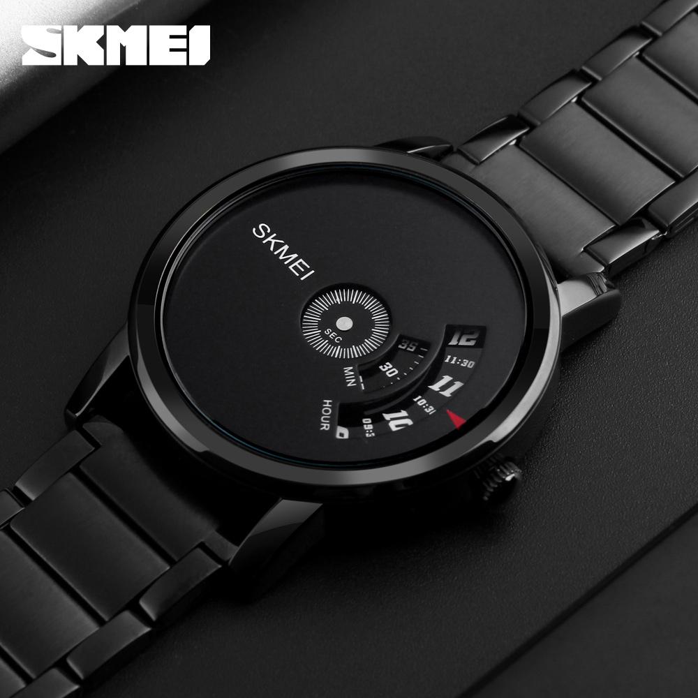 932283abef7 SKMEI Homens Moda Estilo Simples Relógio de Quartzo Banda de Aço de Luxo  Criativo Relógios Relogio masculino dos homens Casuais À Prova D  Água