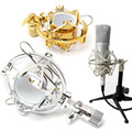 2016 New Stylish Gold Silver Microphone Mic Shock Mount Cradle Holder Clip Stand for Recording Studio