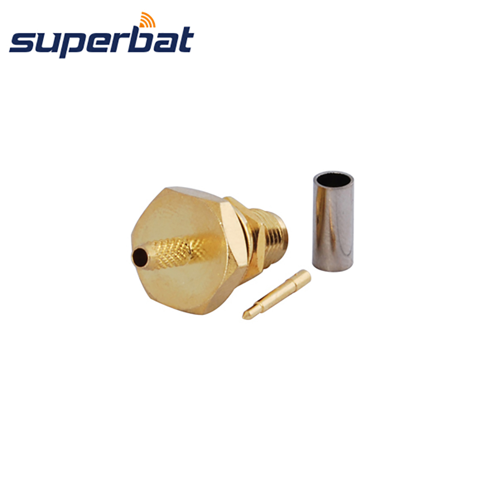 Superbat RP-SMA Crimp Jack(male pin) Bulkhead O-ring Connector for Coaxial Cable RG316 RG174 LMR100