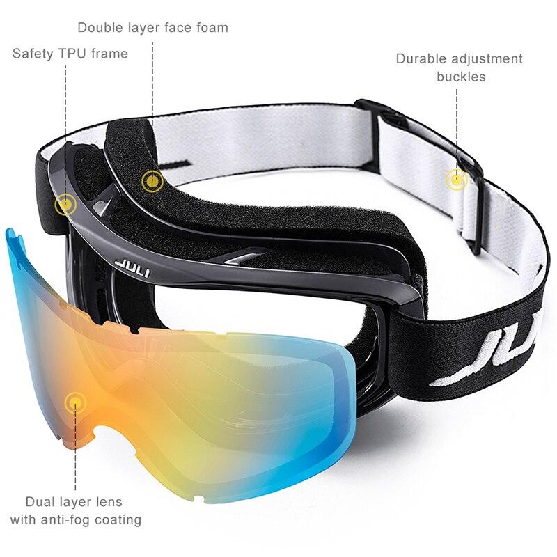 Lunettes de Ski, Sports de neige Snowboard sur lunettes lunettes avec Protection Anti-buée UV Double lentille pour hommes femmes et jeunes motoneige - 3