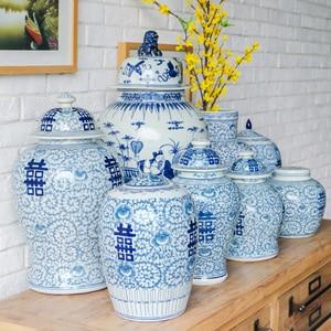 Jingdezhen Old Blue And White Ginger jar New Chinese temple jar Antique Study Wedding Decorations porcelain ceramic jar vase(China)